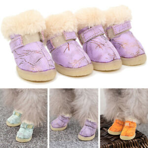 Protective Dog Boots Non Slip Fleece Waterproof Fleece Lined Pet Rain Snow Shoes
