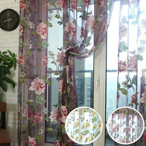 1/2 Panels Flower Peony Floral Tulle Voile Door Window Curtains Drapes Decor UK