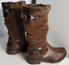 MISS SIXTY WOMEN BROWN SUEDE LEATHER KNEE HIGH FLAT WINTER BOOTS SIZE UK 4 EU 37