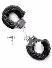 Accessoires coquins : paire de menotte en fausse fourrure noire