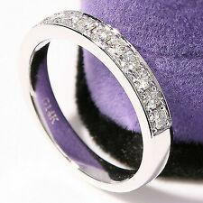 Moissanite Wedding Band Anniversary Ring Milgrain 14k White Gold Half Eternity