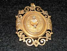 Vintage 1820 Georgian Tested 22k Gold 1 Real Pearl 2 Cut Diamonds Pin Pendant