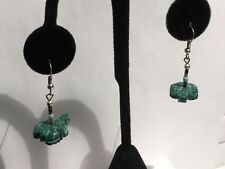 Malachite/ Tiger Eye And Turquoise Hand Carved Turtle Sterling Silver Earrings