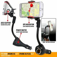 3in1 360° Smartphone Holder mount Dual USB Charger Port+Cigarette Lighter Power