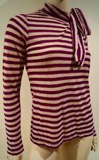 SONIA RYKIEL Crème & Rouge à rayures en laine mélangée col cravate à manches longues Pull Top Sz: M