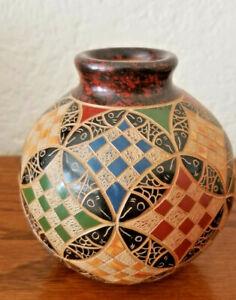 Nicaragua Carved Geometric Design Pottery Vase Signed