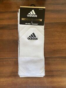 Adidas Menace Crew Socks White/Black  Climalite/Traxion Size L Unisex Socks