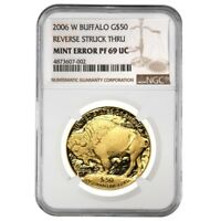 2006 W 1 oz Proof Gold American Buffalo NGC PF 69 Mint Error (Rev Struck Thru)