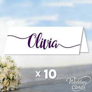 10 Wedding Party Table Name Place Cards Personalised Decoration Folded Foldable