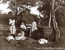 Women Washing Clothes on Plantation, American South -1887- Historic Photo Print
