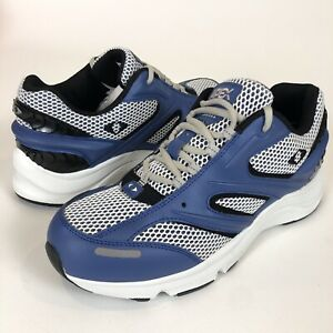 Apex V551 Stealth Runner White/Blue 8.5 W WIDE Support Sneakers Shoes Men's