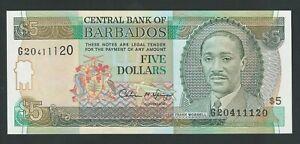 BARBADOS 5 DOLLARS 1993  P- 43 UNC