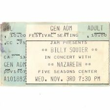 Nazareth & Billy Squier Concert Ticket Stub Cedar Rapids Iowa 11/3/82 2Xs Tour