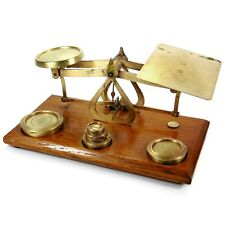 Antique Oak & Brass Postal Scales complete with Imperial Weights Made in England