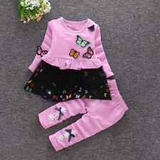 2 Stück Baby Mädchen schön Kleidung Baumwolle Langarmshirt + Hose Schmetterling