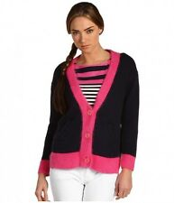 Juicy Couture Colorblock Cardigan Sweater Bracelet Sleeve $107 Angora Trim S/M!!