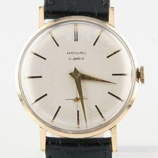 14k Oro Amarillo Marshall Vintage Hombres Correa Manual Reloj W/ Negra de Cuero