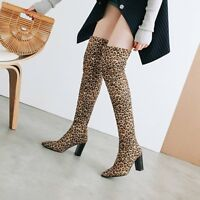 Women Block Heels Over Knee High Boots Pointy Toe Slouch Pull On Casual Shoes