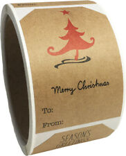 "Natural Kraft Minimalist Ii Christmas Holiday Gift Tags | 2 x 3"" Inch | 100 Pack"
