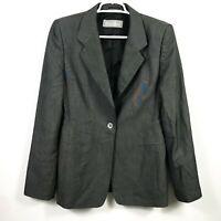 Max Mara Womens 12 Blazer Single Button Wool Blend Dark Gray Sport Coat Career