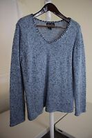Terry Lewis Classic Luxuries Wool & Acrylic Blend Multi-Colored V-Neck Sweater L