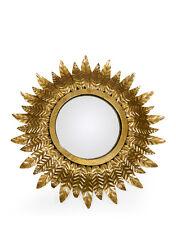 Vintage Style Antiqued Gold Leaf Sunburst Convex Fisheye Mirror 42cm Diameter