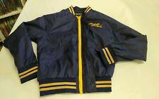 Firetrap Varsity Baseball Jacket Navy Blue Satin Biker Skull Wings Medium M