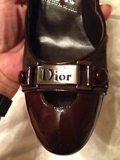 New in Box CHRISTIAN DIOR Brown Suede and Patent leather LOG) pumps 38.5  8.5