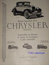 PUBLICITE de 1926 SUPER CHRYSLER IMPERIAL SEDAN ROASTER ART DECO FRENCH AD
