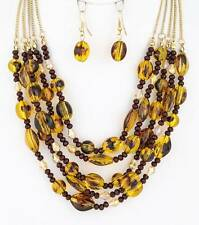 Five Layers Brown Lucite Bead Glass Faceted Bead Gold Tone Necklace Earring Set