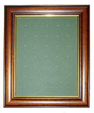 Golf Ball Marker Display Frame - For 35 Stem / Peg Markers - Mid Brown - Wall