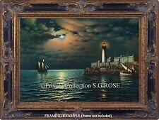 Sailboats Fishing Boats Ocean Cove Lighthouse Moonlight Vintage Art Print