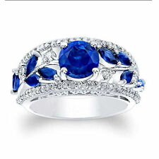 14K Real White Gold 1.92 Ct Real Diamond Real Blue Sapphire Ring Size N M H I O