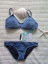 New Seafolly Size 14 Aus Bikini Deja Blue Bralette & 14 Deja Blue Hipster Denim