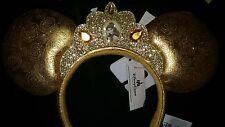 Disney Parks Belle Ear Headband Gold Satin & Glitter Minnie Mouse Ears w/ Crown