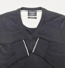 HACKETT LONDON Cotton Cashmere Wool V-Neck Sweater - Dark Blue Pullover Italy S