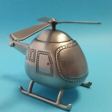 ADORABLE Money Box Helicopter Pewter Finish Baby Shower Christening Event Gift