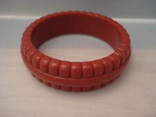 Vintage Monet Brick Red Plastic Lucite Bangle Bracelet