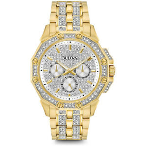 Bulova Mens Stainless Watch with Swarovksi Crystal Accent in Gold Finish, 98C126