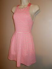 So Brand Girls Size M Pink and White Striped Fit and Flare Dress Straps