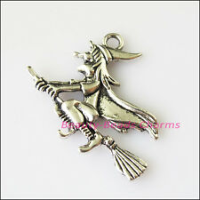 4Pcs Antiqued Silver Tone Halloween Witch Broom Charms Pendants 31x37mm