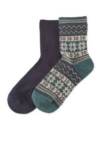 HUE Womens 2 Pack Wintersoft Boot Socks 2 Pair Navy/Green $14 - NWT