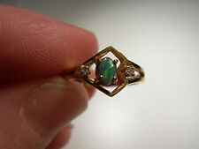 Lightening Ridge Opal with 2 diamonds in Gold Ring (Lot 2231)