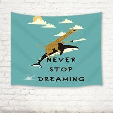 Giraffe Ride On Whale With Quotes Wall Hanging Tapestry Bedspread Dorm 71X60 In