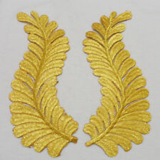 New Golden Embroidery Leaves Craft Appliques Motif Venise Patches Decor 1 Pair