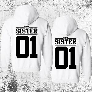 SISTER 01 Hoodie Pullover Weiß Geschwister Schwester Beste Freundin Pärchen