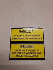 2 x small Danger Warning Permit Cabinet electrical safety sticker 40 mm x 100 mm