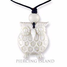 Eule Owl Amulett Anhänger mit Band Halskette Bone Knochen PB360
