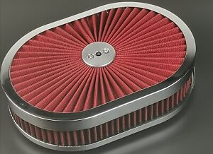 """New 12"""" Super Flow Oval Air Cleaner Set With Washable Red Element & chrome top"""