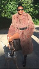 Full length Designer Rose Sable Brown color Fox Fur Coat Jacket Stroller S-M 0-6